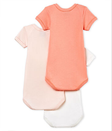 Baby Girls' Short-Sleeved Cotton and Linen Bodysuit - Set of 3