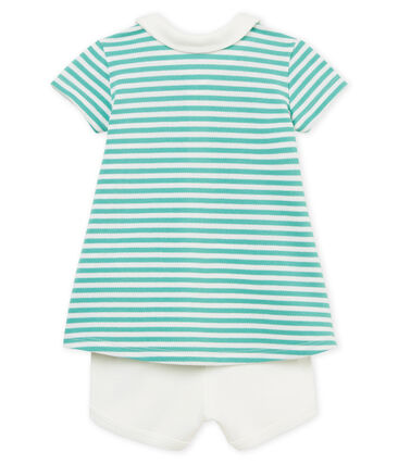 Baby girls' striped polo shirt dress and shorts