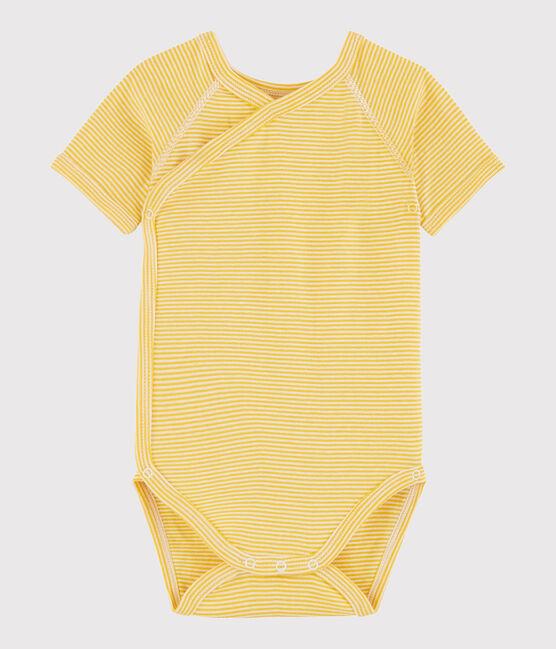 Unisex Babies' Short-Sleeved Wrapover Bodysuit Honey yellow / Marshmallow white
