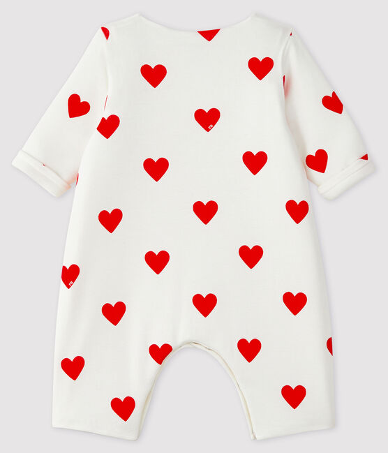 Baby Girls' Red Heart Pattern Organic Cotton Jumpsuit Marshmallow white / Terkuit red