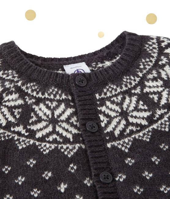 Baby boy's wool blend jacquard cardigan Capecod grey / Multico white
