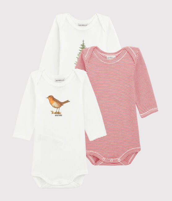 Petit Bateau x Deyrolle Baby Girls' Long-Sleeved Bodysuit - 3-Piece Set . set