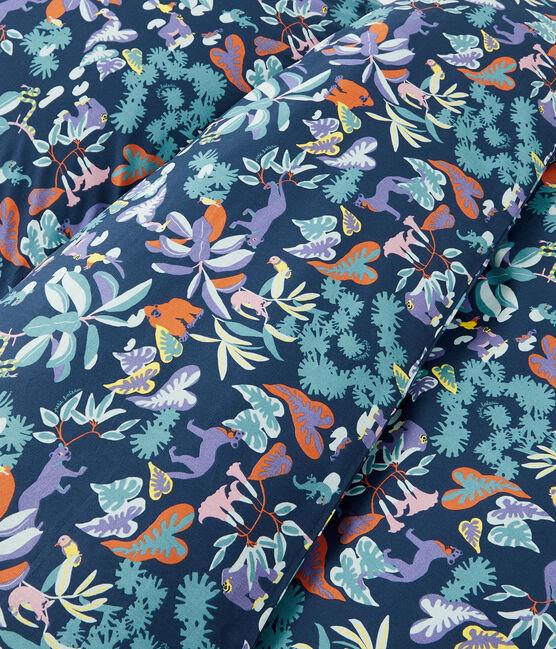 Jungle Print Poplin Bedlinen Medieval blue / Multico white