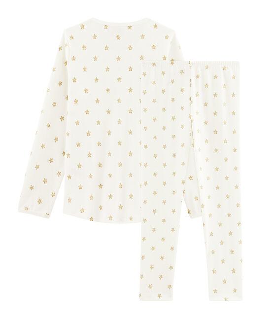 Girls' starry cotton pyjamas Marshmallow white / Or yellow