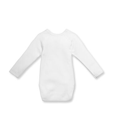 Unisex newborn baby long-sleeved brushed cotton bodysuit Ecume white