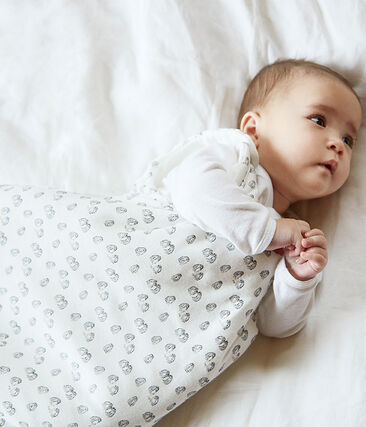 Babies' Velour Sleeping Bag MARSHMALLOW/SCULPTURE/MULTICO