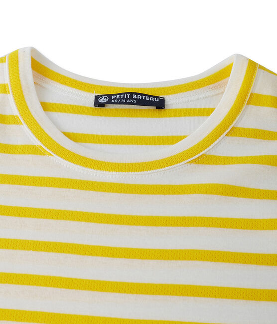 Women's T-shirt in heritage striped rib Shine yellow / Marshmallow white
