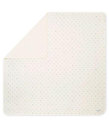 Unisex baby's print tubic coverlet Marshmallow white / Noir black