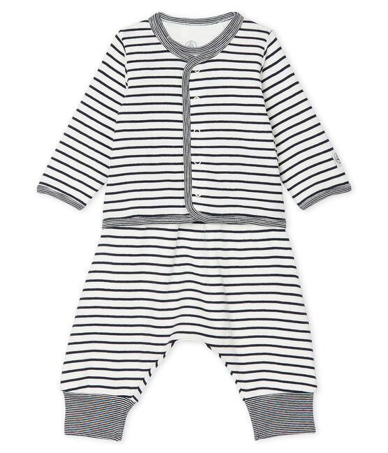 Babies' Ribbed Clothing - 3-Piece Set Marshmallow white / Smoking blue