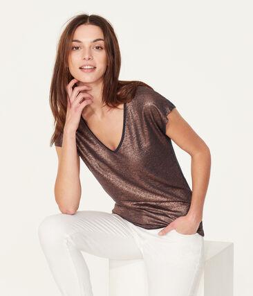 Women's iridescent linen short-sleeved t-shirt