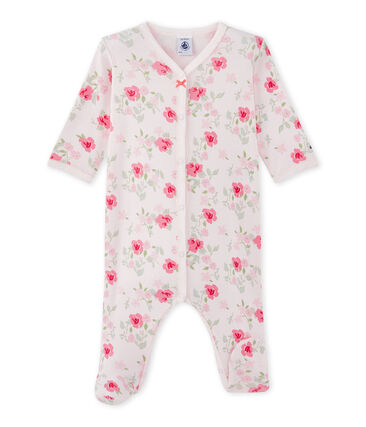 Baby girl's floral print sleepsuit