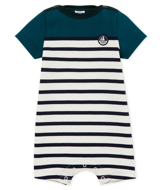 Baby boys' Shortie in heavy striped jersey Pinede green / Marshmallow white