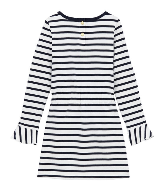 Iconic girl's dress Marshmallow white / Smoking blue