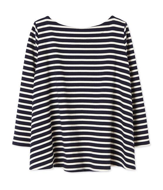 Women's striped top in heavy jersey Smoking blue / Coquille beige