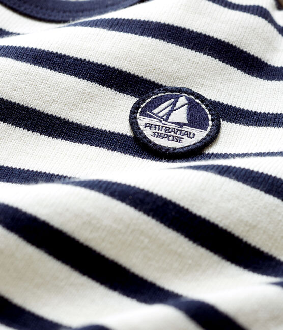 Baby's iconic sailor top Coquille beige / Smoking blue
