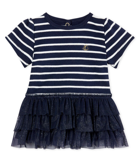Baby girls' tulle and sailor striped dress Smoking blue / Coquille beige