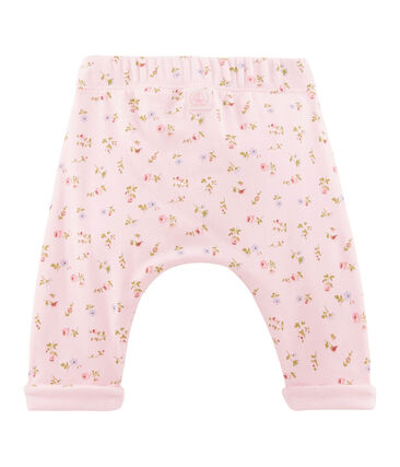 Unisex baby's trousers Vienne pink / Multico white