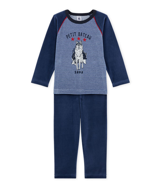 Boy's wolf motif pyjamas Surf blue / Major blue
