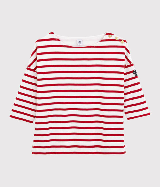 Women's frilled Breton Top Marshmallow white / Terkuit red