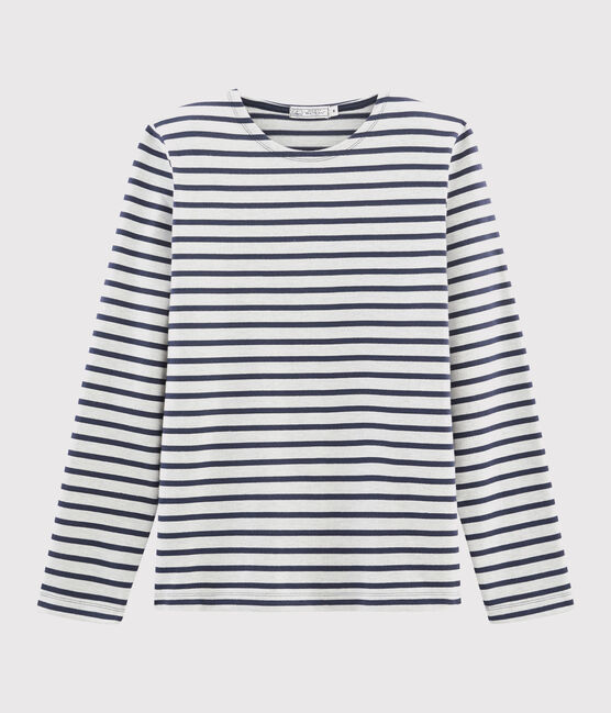 Men's iconic Breton top Coquille beige / Smoking blue