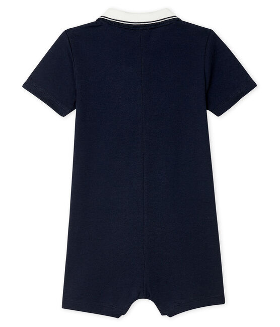 Polo shirt playsuit for baby boys Smoking blue