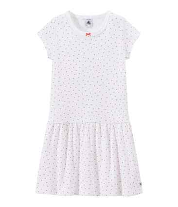 Girl's heart print nightshirt Ecume white / Rose pink