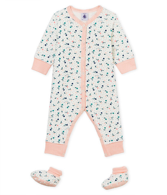 Baby Girls' Nightwear Set in Extra Warm Brushed towelling Marshmallow white / Multico white