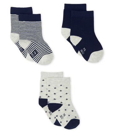 Baby Boys' Socks - 3-Piece Set Beluga grey / Smoking blue