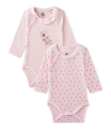 Set of 2 newborn baby girls' long-sleeved bodysuits