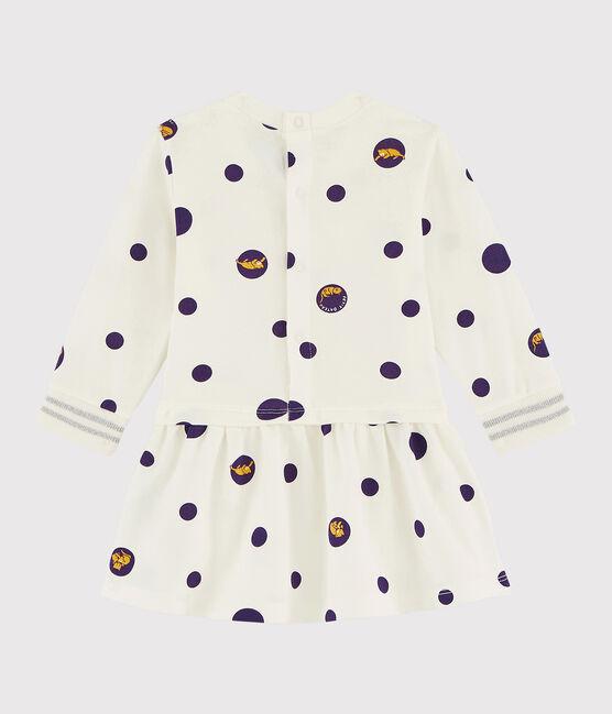 Baby girl's long-sleeved dress Marshmallow white / Multico white