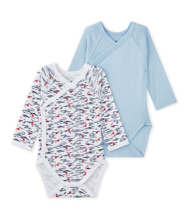 Set of 2 newborn baby boys' long-sleeved bodysuits