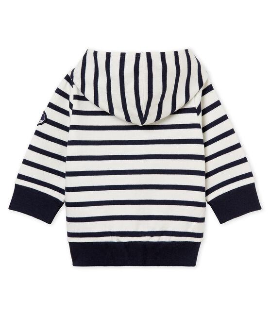 Baby boys' breton striped hooded Sweatshirt Marshmallow white / Smoking blue