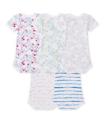 Set of 5 baby girls' short-sleeved bodysuits