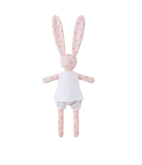 Printed rabbit comfort object Vienne pink / Multico white