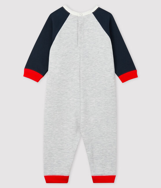 Baby boy's long playsuit Beluga grey / Smoking blue