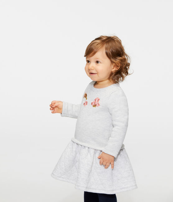 Baby Girls' Long-Sleeved Dual Material Dress Beluga grey