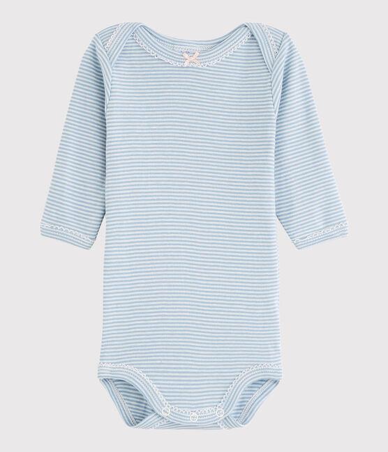 Baby Girls' Long-Sleeved Bodysuit Acier blue / Marshmallow white
