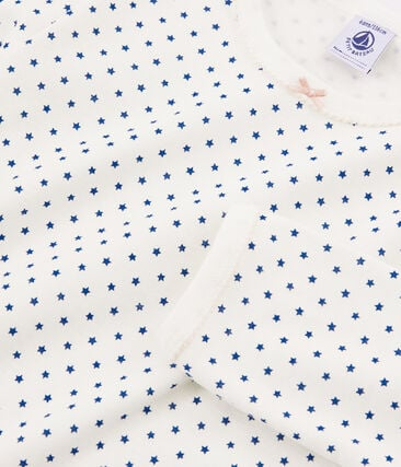 Girls' Ribbed Pyjamas Marshmallow white / Major blue
