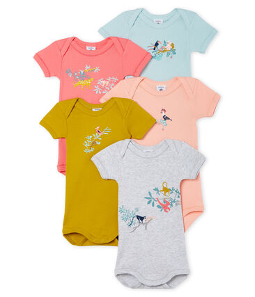 Baby Girls' Short-Sleeved Bodysuit - Set of 5