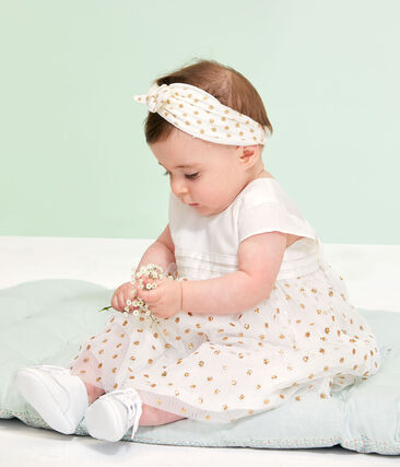 Baby Girls' Dress and Bloomers Marshmallow white / Or yellow