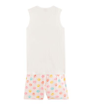 Girls' Ribbed Short Pyjamas Fleur pink / Multico white
