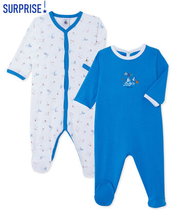 Surprise pack of 2 ribbed baby boy's sleepsuits