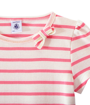 Girl's sailor-striped T-shirt Marshmallow white / Petal pink