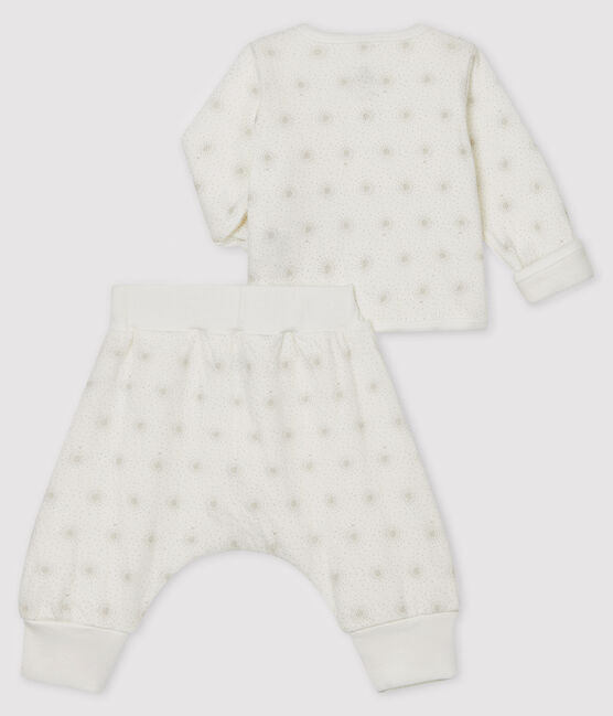 Unisex Baby's Tube Knit Clothing - 2-Piece Set Marshmallow white / Perlin beige