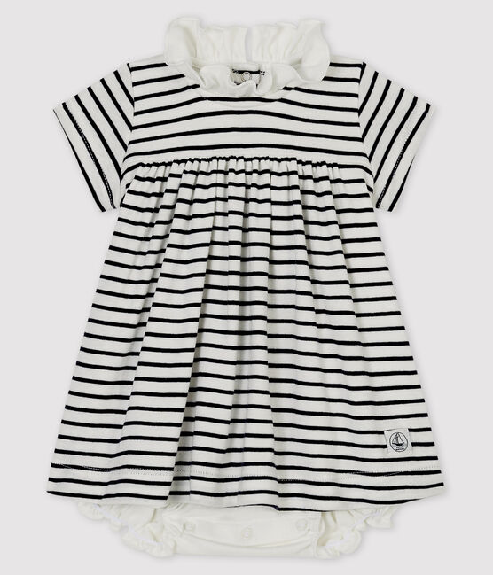 Baby girls' short-sleeved cotton bodysuit/dress Marshmallow white / Smoking blue