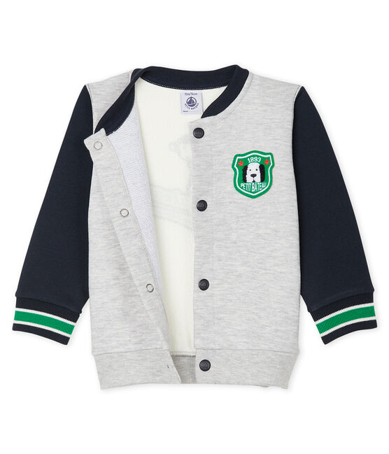 Baby Boys' Fleece Cardigan Beluga grey / Multico white