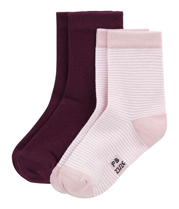 Set of 2 pairs of socks, coloured and striped . set