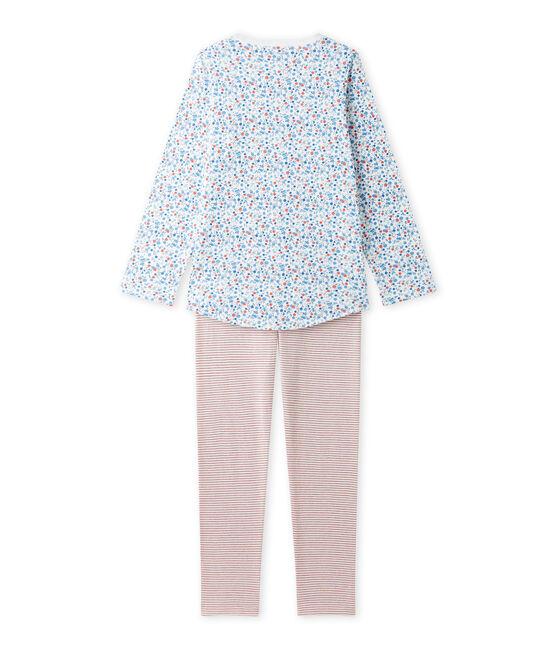 Girl's little flower print pyjamas Lait white / Multico white
