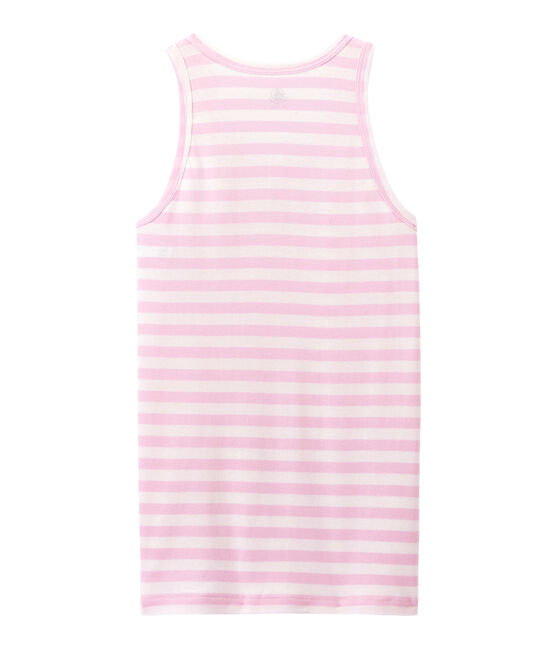 Women's vest top in heritage striped rib Babylone pink / Marshmallow white