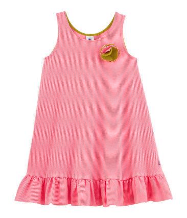 Baby Girls' Sleeveless Dress Groseiller pink / Marshmallow white